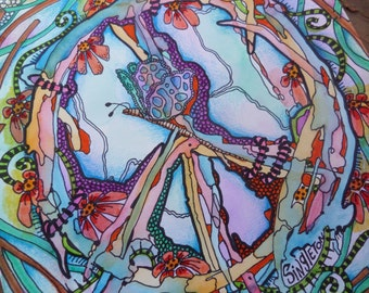 Peace Art, Hippie Art, Singleton hippie Art, Original painting, drawing, peace sign, dragonfly, hippie decor, peace painting, trippy art
