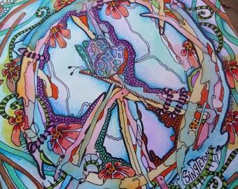 Peace Art, Hippie Art, Singleton hippie Art, Original painting, drawing, peace sign, dragonfly, hippie decor, peace painting, trippy art
