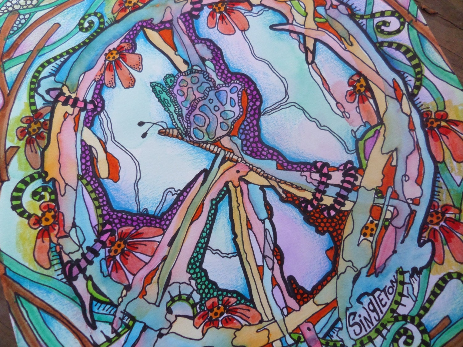 Dragonfly arts and crafts - Peace Art Hippie Art Singleton Hippie Art Original Painting Drawing Peace