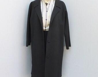 Vintage Long Black Wool Sweater Coat, Dress Coat or Long Sweater, Boho, Fall Sweater, Inky Black Winter Fashion, Large