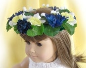 Flower Crown for American Girl Doll 18 inch Doll Flower Crown Blue Yellow and White Flower Crown Doll Summer Accessory Am Girl Doll Crown