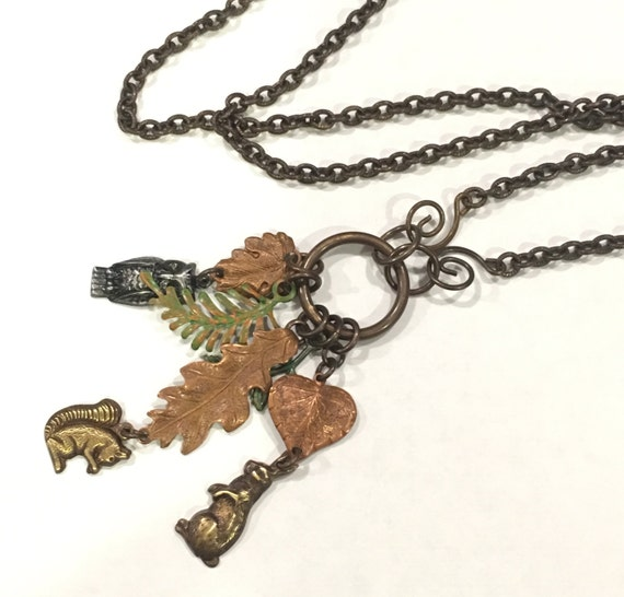 Forest themed charm, dangle Necklace Owl, squirrel, rabbit, copper leaves
