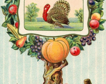 Thanksgiving vintage  postcard,   Turkey, tree loaded with fruit, corn, pumpkins, antique postcard ephemera