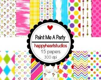 digital Scrapbook  PaintMeAParty-INSTANT DOWNLOAD