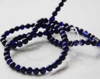 One Strand (15 Inches) Dark Blue Stone - Round 4mm (131)