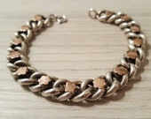 Antique Victorian French sterling silver chain, engraved links, and rose gold flower bracelet,  daisies