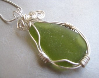 Olive Green Pendant Sea Glass Necklace - Beach Glass Pendant - Ocean Jewelry - Beach Glass Jewelry
