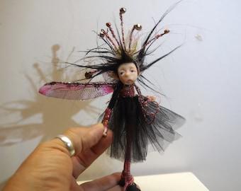 ooak poseable crazy hat PIXIE fairy( #3 ) polymer clay art doll by DinkyDarlings elf pixie faery