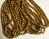 4MM Fire Polish  Round  Matte Gold -  Approx 50 pieces
