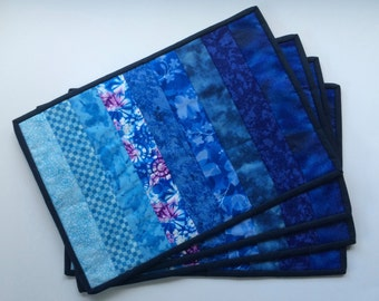 Shades of Blue Quilted Placemats - Set of 4
