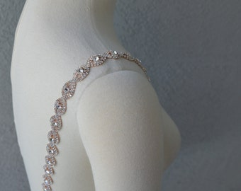 Detachable Rose Gold Rhinestone Crystal Straps to Add to your Wedding Dress