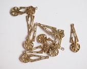12 vintage die cut metal filigree charm with triangle and heart drop 30x10mm raw brass color
