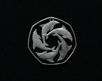Gibraltar- Cut Coin Pendant - Geometric Dolphin Pattern - 1997 - LARGER VERSION