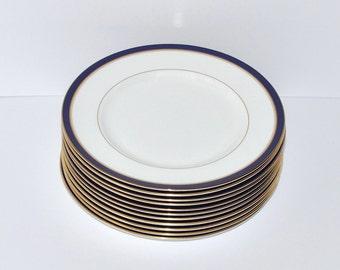 Vintage Royal Worcester England Howard Blue Gold Dinner Plates, 11