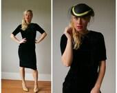 ON SALE 1950s Black Velvet Wiggle Dress~Size Extra Small