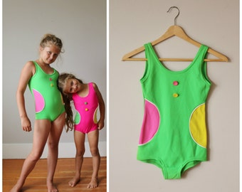 NOS, 1960s Confetti Dot Swimsuit >>> Girls Size 8/10