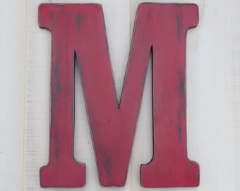 rustic  wood letter m distressed shabby chic nursery or wedding decor chalk paint choice of colors