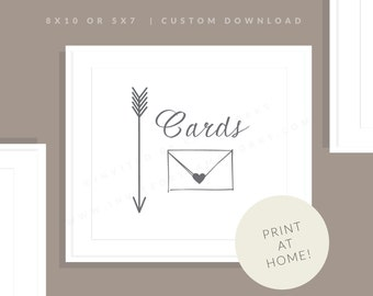 Wedding Cards Sign | Printable Card Sign | Downloadable Wedding Card Sign | Wedding Day Sign | Reception Sign | Allie Collection