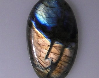 Labradorite oval with bright copper multi color flash, 69.46 carats                       043-10-616