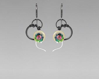 Steampunk Earrings with Vitrail Medium Swarovski Crystal, Swarovski Earrings, Green Swarovski, Statement Earrings, Chronon II v7