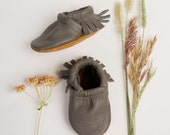 BASICS//True Grey Moccs Fringe Soft Soled Leather Moccasins Shoes Baby and Toddler  Free Ship in US