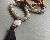 matte grey agate traditional 108 bead mala prayer necklace with tassel
