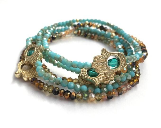 tiny gold hamsa beaded bracelet, tiny bracelet, hamsa bracelet, stretch bracelet, delicate jewelry, yoga jewelry, yoga bracelet, protection