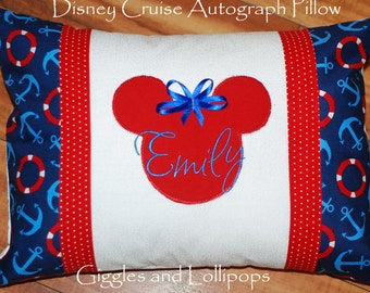 Disney Cruise autograph pillow pillowcase Mickey Mickey