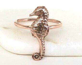 14k Rose Gold Sea Horse Ring