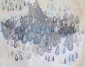 Chandelier, original acrylic painting on canvas, abstract painting, raindrops, tears, rain