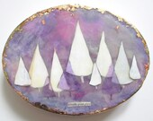 Encaustic art, encaustic painting, FREESHIPPING coupon code, purple art, white trees, a good place, art vignettes, oval painting