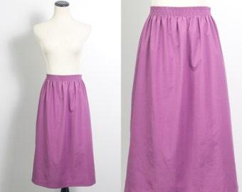 VTG 90's Soft Simple Purple Skirt (Large) A Line Below Knee Dusky Mauve Pockets Mid Calf Elastic Waist Sheath Vintage Skirt