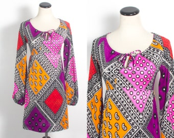 VTG 60's Patchwork Hippie Mini Dress (Small / Med) Silky Scoop Neck Bell Sleeves Empire Waist Bold Polks Dots & Paisley Purple Orange Pink
