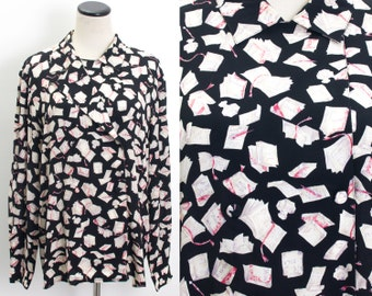 VTG 90's Librarian's Blouse (Large) French Books Print Double Breasted Long Sleeve Shirt Library Book Nerd Kitschy Hugo Balzac Zola