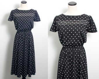 VTG 80's Polka Dot Secretary Dress (Medium / Large) Day Dress Short Flutter Sleeves Black White Full Skirt