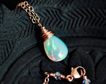 Fine Jewelry, Gemstone Pendant, 14K Rose Gold, Opal Necklace, Fluorite, Pendant, Rose Gold Necklace, October Birthstone, Ethiopian
