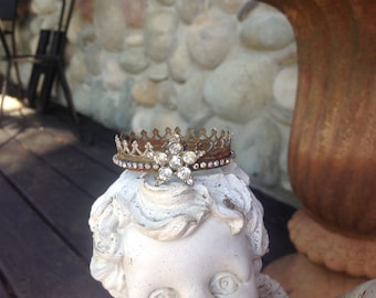 Sweet little handmade rusty rhinestone santos crown