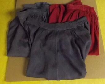 Vintage lot walking shorts very wide leg drapey cotton rayon raspberry & plum Med