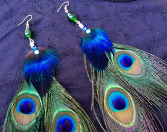 Peacock Feather Earrings for Costumes READY To SHIP