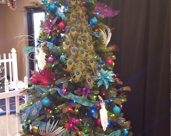 """Exquisite Curled Feather Peacock Cake Topper Christmas Decoration with Swarovski Crystals -16""""-48"""""""