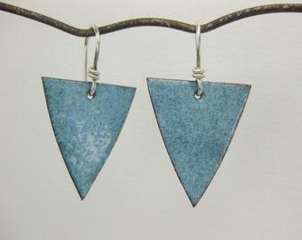 Pale Blue Enameled Earrings