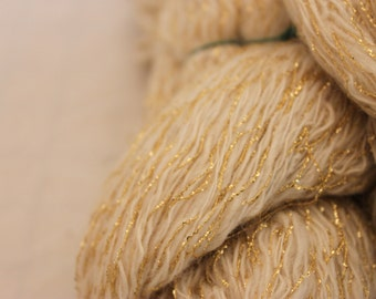 2 Ply Lace Weight Cabled with Gold Hand Spun Yarn, Wool Blend Metallic Yarn, Cream and Gold Yarn #1289