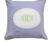 SALE - PERSONALIZED Blue - green decorative pillow case - monogrammed