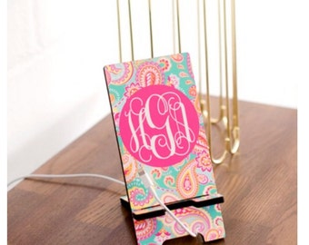 Personalized cell phone Monogrammed iPhone Docking Station Stand
