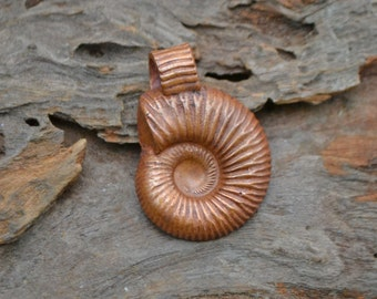 Handmade Copper Ammonite Pendant with Ridged Ammonite Bail