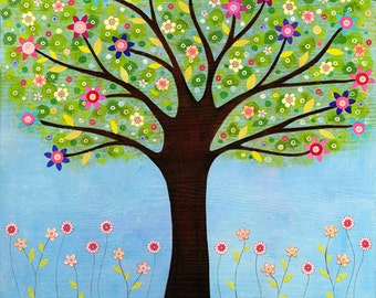 Abstract Painting, Folk Art Tree Painting, Mixed Media Tree Collage Painting
