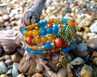 Orange And Turquoise Memory Bracelet