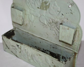 Shabby Chic, Antique , Rose Embossed Tin, Match holder,match safe, Amish, Comb & Brush Holder