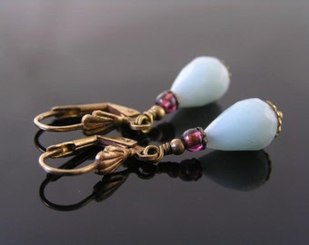 Amazonite Earrings with Garnet, Amazonite Jewelry, Gemstone Earrings, Gem Jewelry, Amazonite Pendant Earrings, Amazonite Bead Earrings