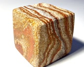 Polished Sandstone Cube, Polished Sandstone Paperweight, Square Sandstone Cube, Red Polished Banded Sandstone Paperweight, 1.75 Square